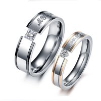 Heart Cubic Zirconia Rhinestone Steel Couple Ring CBR-59
