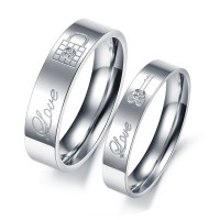 LOCK & Key Shape Engraving Romantic Jewelry Couple Rings CBR-60