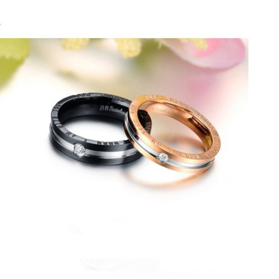Hot Lovers' Stainless Steel Gold Color Romantic Couple Ring CBR-66