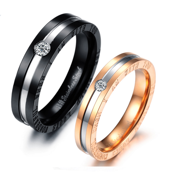 Hot Lovers' Stainless Steel Gold Color Romantic Couple Ring CBR-66 image
