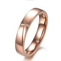 Cross Stainless Steel Gold Color For Lover Ring Modern jewelry  CBR-65
