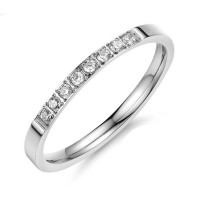 Women Vintage Concise Crystal Rhinestone Silver Plated Engagement Wedding Rings CBR-69