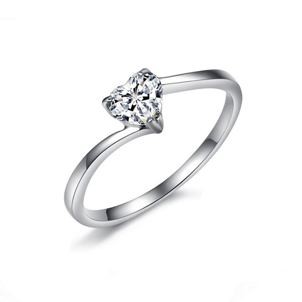 Women Shining Band Bling CZ Heart Crystal Modern Jewelry Rings CBR-73 image