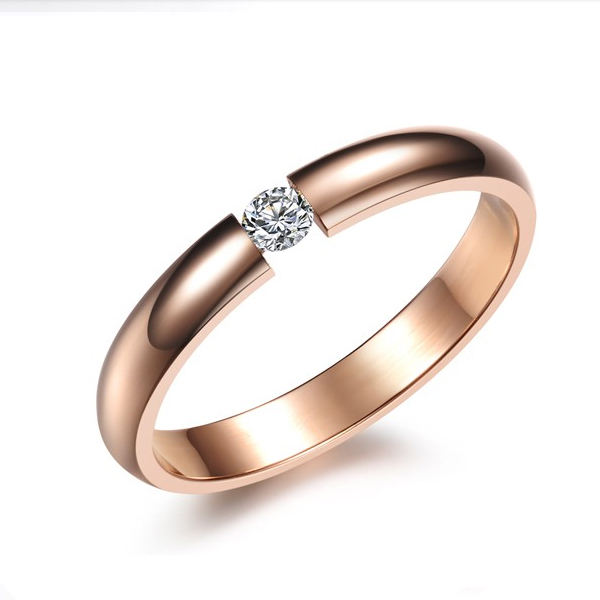 Women Rose Gold Plated Modern Jewelry Exquisite Stainless Steel Ring CBR-75 image