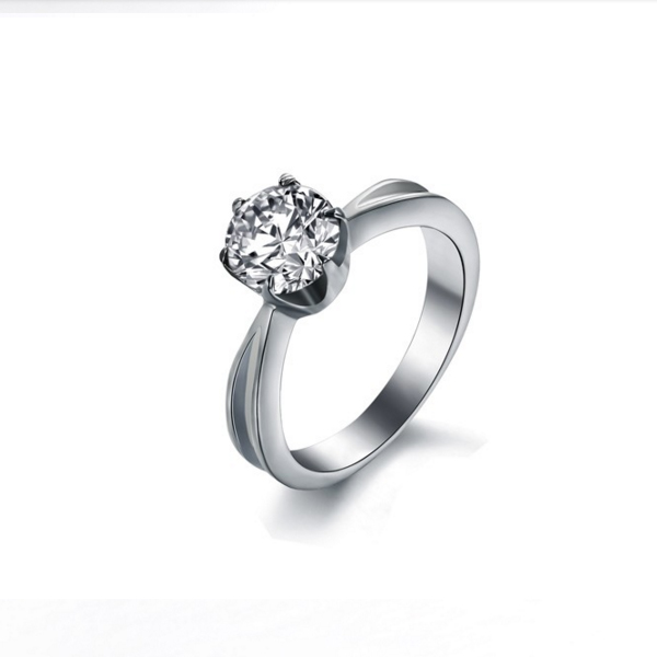Women Exquisite White Big Shiny Titanium steel Modern Jewelry Ring CBR-76 image