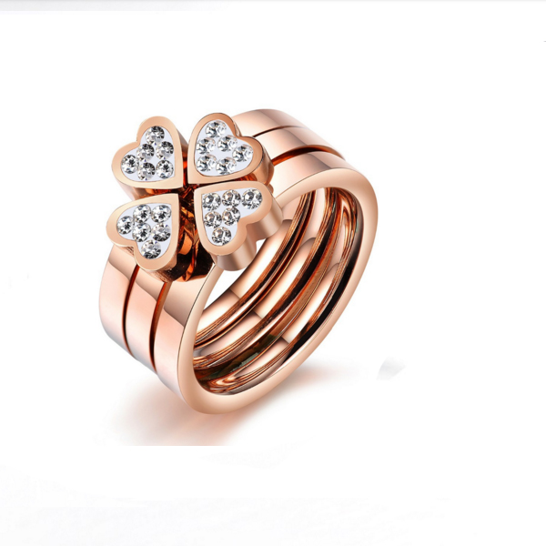 Women Vintage Heart Crystal Lucky Four Leaf Rose Gold Color Stainless Steel Ring CBR-77 image