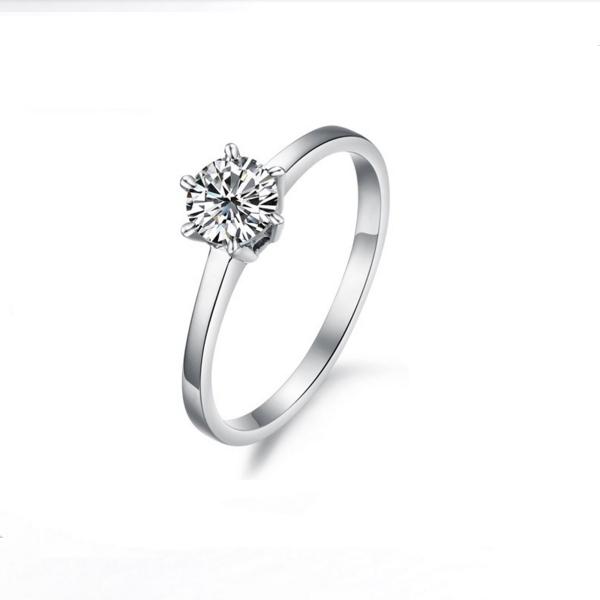 Honey Silver Color Plated Titanium Modern Jewelry Zircon Ring CBR-78 image