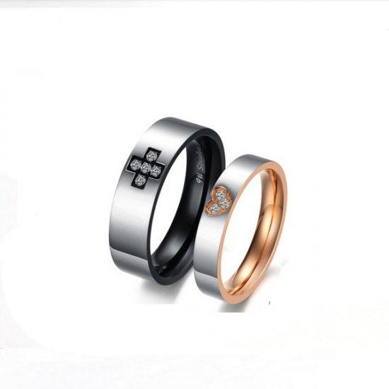 Heart & Cross Promise Wedding Engagement Ring For Couple Ring CBR-79