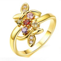 Women Vintage AAA CZ Diamond Gold Plated Flower Modern Jewelry Ring CBR-80