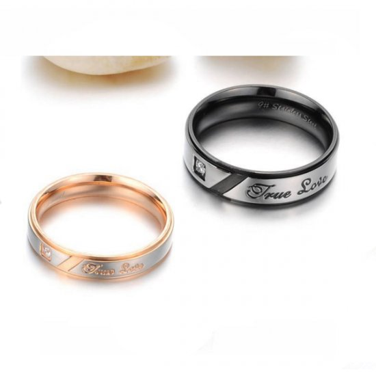 Titanium Steel Black & Gold Color Crystal Lovers Couple Ring CBR-81