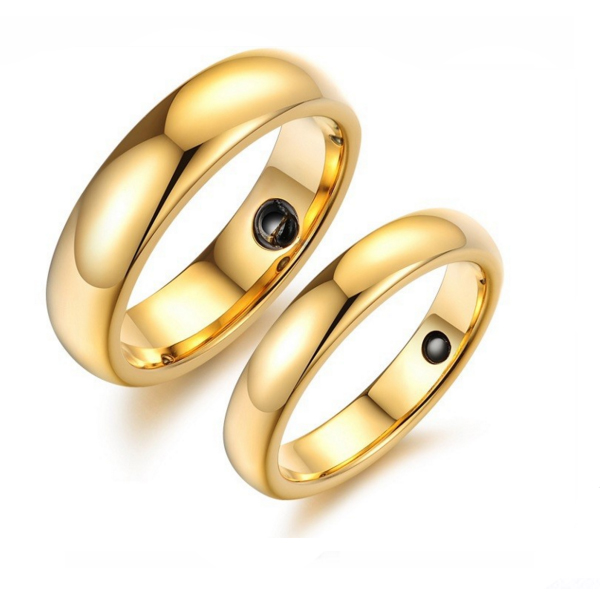 Luxury Golden Tungsten Carbide Couple Ring Magnetic Stone inlaid CBR-83 image
