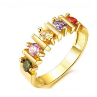 Cubic Zirconia Gold Plated Ring For Women Luxury Jewelry CBR-84