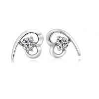 Heart White Gold Plated Crystal Stud Earring  For Women ANDE-99