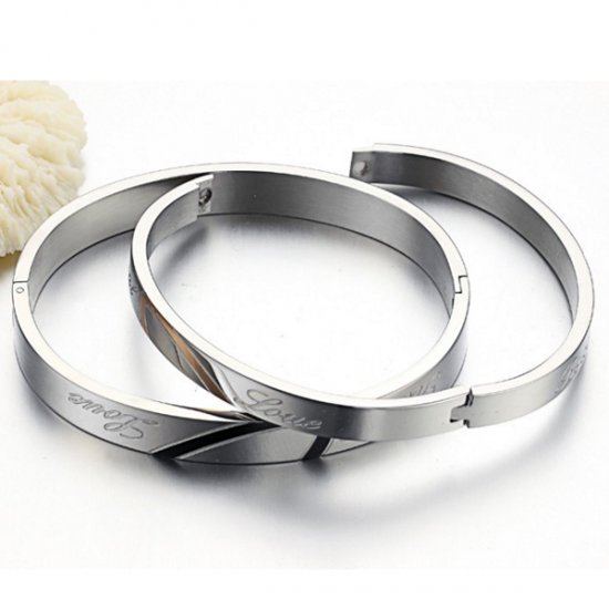 Lover Jewelry Sliver Love Friendship Bangle Bracelet For Couple CHBD-61 image