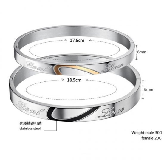 Lover Jewelry Sliver Love Friendship Bangle Bracelet For Couple CHBD-61