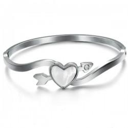 Heart Arrow Of Love Titanium Silver Bracelet For Women CHBD-76S