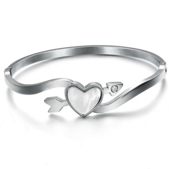 Heart Arrow Of Love Titanium Silver Bracelet For Women CHBD-76S image