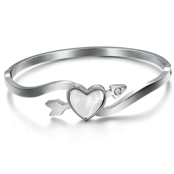 Heart Arrow Of Love Titanium Silver Bracelet For Women CHBD-76S image