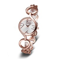 WEIQIN Hai Retro Hollow Outer Cage Rose Gold Strap Large Digital Scale Ladies Watch  CHD-27R