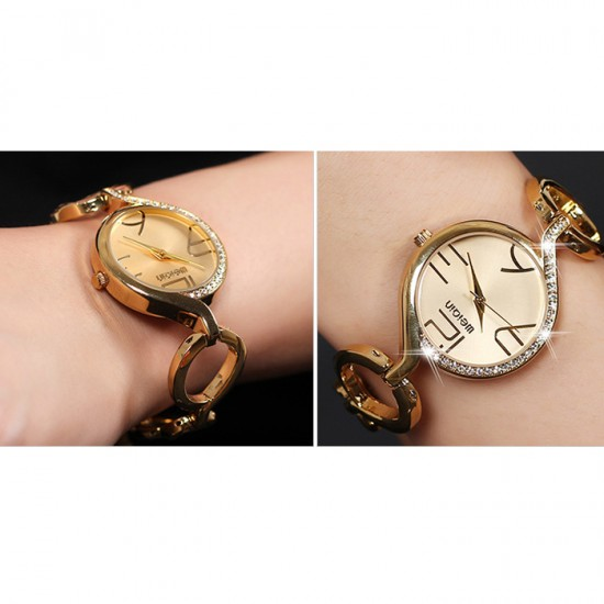 WEIQIN Hai Retro Hollow Outer Cage Gold Strap Large Digital Scale Ladies Watch CHD-27G image