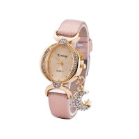 Women Fashion Oval Diamond Leather Bracelet Moon Star Watch CHD-41PK