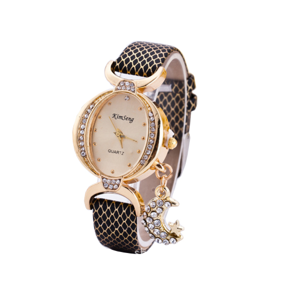 Women Fashion Oval Diamond Leather Bracelet Moon Star Watch CHD-41BK image