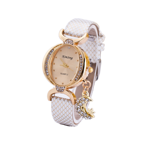 Women Fashion Oval Diamond Leather Bracelet Moon Star Watch CHD-41W image