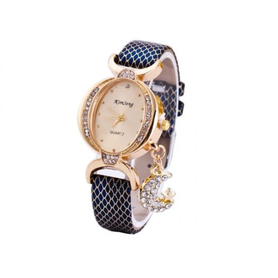 Women Fashion Oval Diamond Leather Bracelet Moon Star Watch CHD-41BL