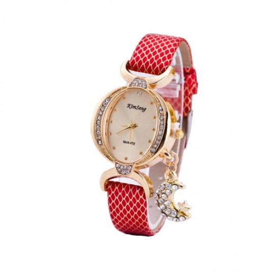 Women Fashion Oval Diamond Leather Bracelet Moon Star Watch CHD-41RD