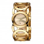 Ladies Gold With Silver Dial Hollow Bracelet Watch CHD-62G image