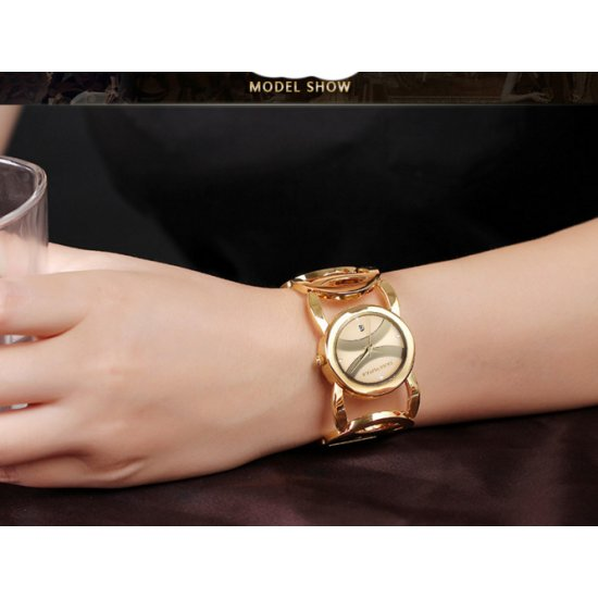 Ladies Gold With Silver Dial Hollow Bracelet Watch CHD-62G