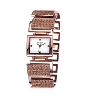 WEIQIN Square Rose Gold Full Diamond Bracelet Ladies Watch CHD-73RG