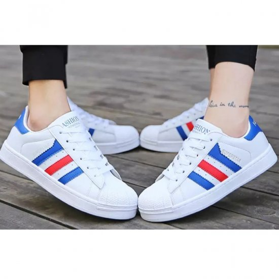 Blue Color Classic Three Bars Shell Head Board Shoes For Womens S-53