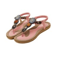 Bohemian Beaded Clip Pink Women Sandal CSW-04PK