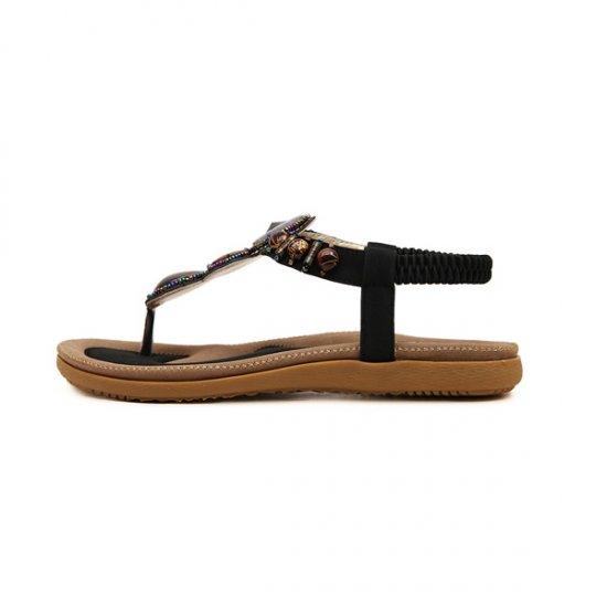 Bohemian Beaded Clip Women Sandal CSW-04BK image