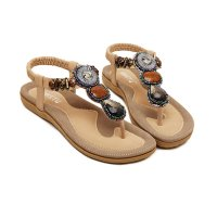 Bohemian Beaded Clip Gold Women Sandal CSW-04G