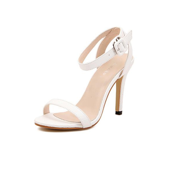 White Color Buckle Open Toed 10 cm High Women Fashion Heels Sandals CHW-16W image