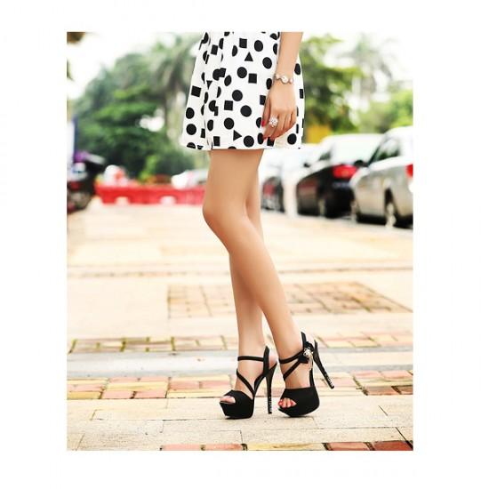 Black Color Flowers Diamond 14 Cm Waterproof Women Fashion Heels CHW-15BK