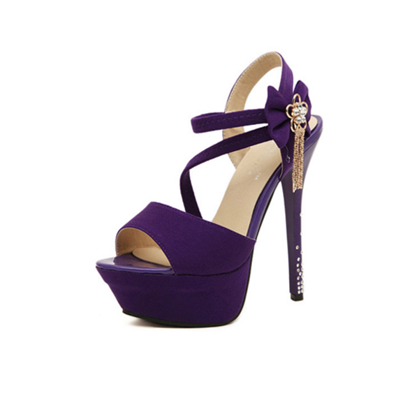 Purple Color Flowers 14 Cm Diamond Waterproof Women Fashion Heels CHW-15PR image