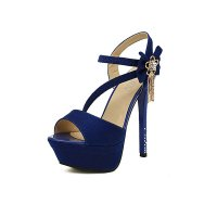 Blue Color Flowers 14CM Diamond Waterproof Women Fashion Heels CHW-15BL