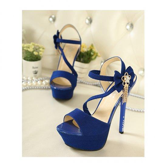 Blue Color Flowers 14CM Diamond Waterproof Women Fashion Heels CHW-15BL