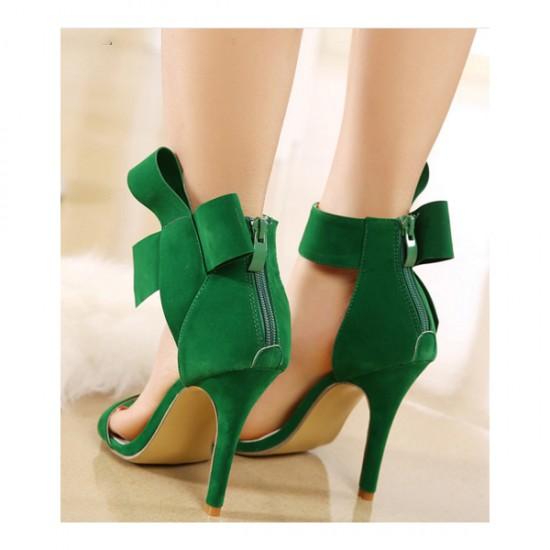 European Style Bow Bow Green Yards Women Heels CHW-22GR