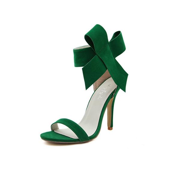 European Style Bow Bow Green Yards Women Heels CHW-22GR image