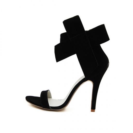 European Style Bow Bow Black Yards Women Heels CHW-22BK