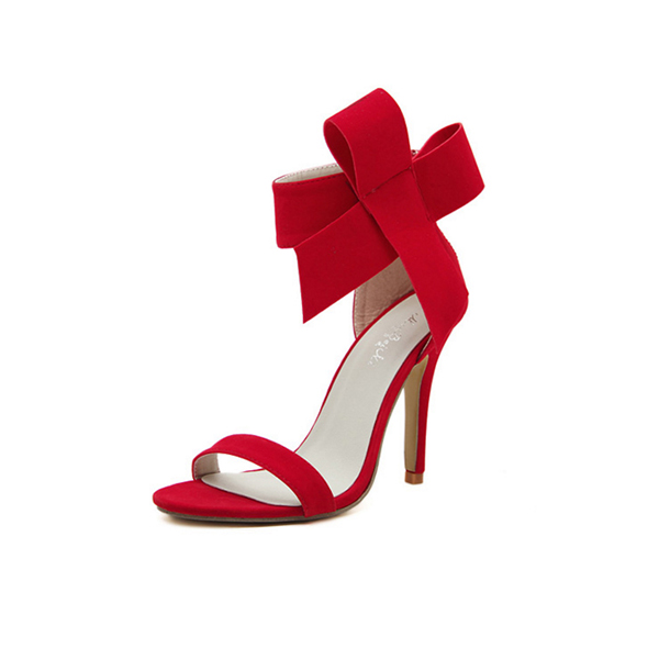 European Style Bow Bow Red Yards Women Heels CHW-22RD image