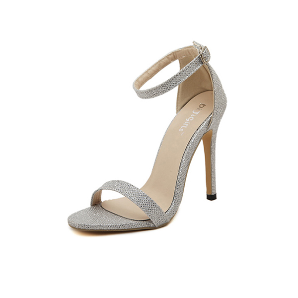 Open Toed Buckle Female Silver Color Women Fashion Heels Chw 32s | Imanges