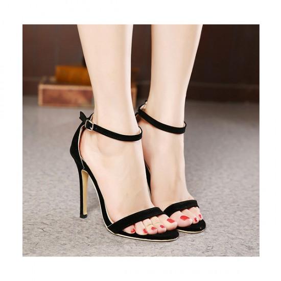 Black Color Buckle Open Toed 10 cm High Women Fashion Heels Sandals CHW-16Bk
