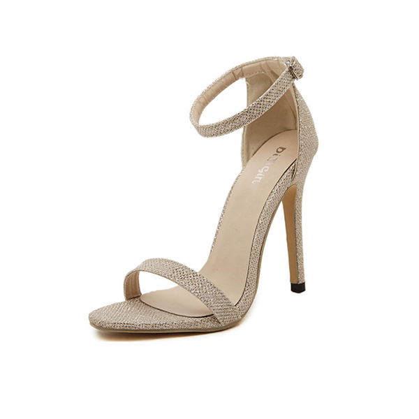 Gold Color Buckle Open Toed 10 cm High Women Fashion Heels Sandals CHW-16G image