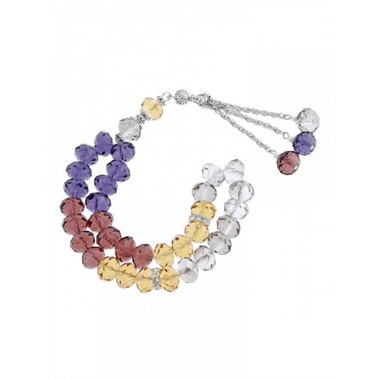 Masbaha Unisex Multi-Colored Translucent Faceted Crystal Prayer Beads ANM-13 image