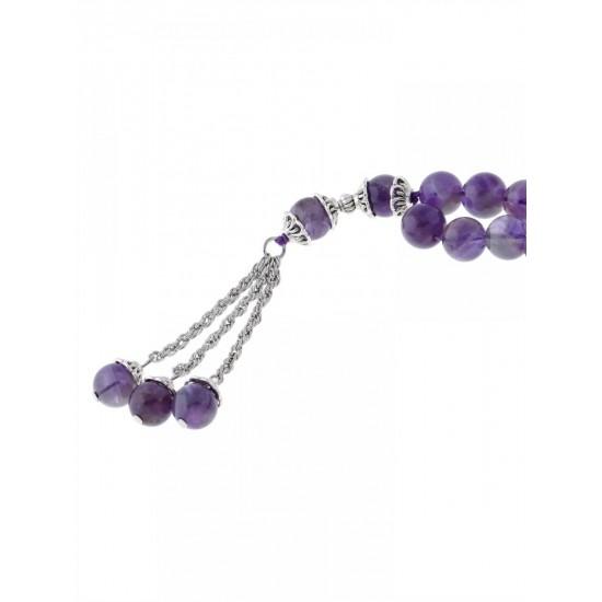 Masbaha Unisex Natural Amethyst Gemstone Prayer Beads ANM-18 image